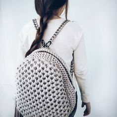 Crochet backpack pattern inspiration / crochet bag from t-shir yarn - Salvabrani Crochet Backpack, Backpack Pattern, Crotchet Bags, Knitted Bags, Crochet Handbags, Crochet Purses, Handmade Handbags, Handmade Bags, Crochet Shoes