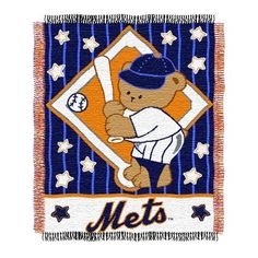 MLB New York Mets 36-Inch-by-46-Inch Woven Jacquard Baby Throw by Northwest. Save 18 Off!. $16.37. 100% Acrylic. Officially Licensed. 100% Acrylic. 36-Inch x 46-Inch (approximate) Woven Jacquard Baby Throw. Loom woven high bulk acrylic, with the look and feel of cotton.  The weaving process of our triple jacquards allow us to capture exact pantone specified colors of team logos, perfect for the die-hard sports fan.  Jacquards are approximately 36-Inch x 46-Inch, 100% Acrylic and are…
