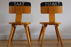 CHILDREN CHAIRS   with chalk paint on the back. Super by TAATMAAKT, €42.00