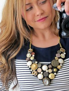 How To Make a Button Bib Necklace {step by step Tutorial}