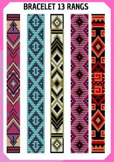 Loom Bracelet Patterns, Bead Loom Bracelets, Bead Loom Patterns, Peyote Patterns, Beading Patterns, Native Beadwork, Native American Beadwork, Bead Loom Designs, Motifs Perler