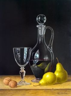 Roy HODRIEN-Decanter of Red Wine with Pears