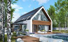 Projekt domu EX 19 energo plus Modern Barn House, Modern House Plans, Modern House Design, Modern Farmhouse Exterior, Farmhouse Remodel, Dream House Exterior, Exterior Design, Future House, Building A House
