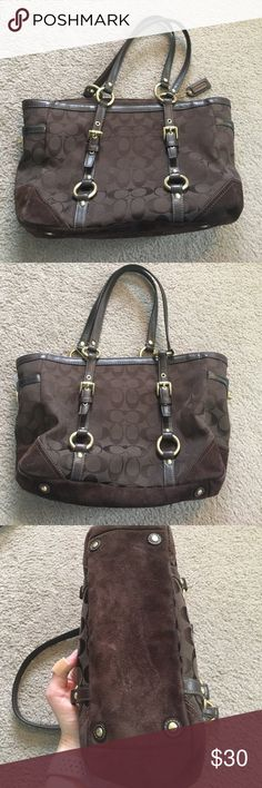 Coach Purse Brown classic print Coach bag. Exterior in great condition except suede on bottom and corners is a bit worn/discolored looking. Interior in great shape! Coach Bags