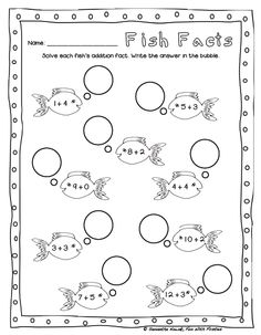 Fun With Firsties: 1 of 2 FREE Fish Facts addition math worksheets