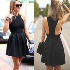 Popular black simple cocktail homecoming prom dresses, Little Black Dresses, SF0036