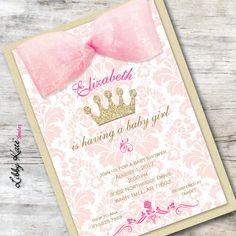 pink and gold baby shower invitation pink and gold princess crown invitation