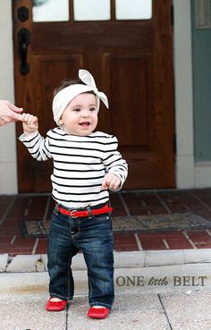 really, is there any better combo than black & white stripes paired with red Patton leather. Little Girl Outfits, Cute Outfits For Kids, Little Girl Fashion, My Little Girl, My Baby Girl, Toddler Fashion, Little Babies, Cute Kids, Cute Babies