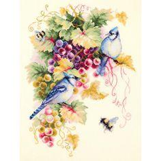 Гоблен Чудесная игла 130-022 Cross Stitch Kits, Cross Stitch Embroidery, Cross Stitch Patterns, Vine Leaves, Great Hobbies, Embroidery Transfers, Vintage Embroidery, Blue Jay, Craft Supplies