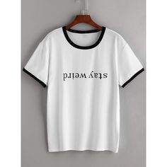 White Contrast Trim Letter Print T-shirt ($16) ❤ liked on Polyvore featuring tops, t-shirts, white, white tee, white tops, white t shirt, initial t shirts and letter t shirts