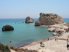 Rock of Aphrodite: Greeces beaches the beaches are flat  but around them they have lots of hills
