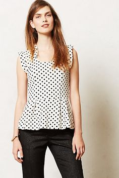 Anthropologie Fluttered Dot Peplum Top
