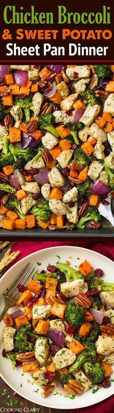 Chicken Broccoli and Sweet Potato Sheet Pan Dinner - serve over brown rice