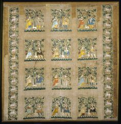 Lower Saxony, Germany    Hanging, 1530/40    Linen, plain weave; embroidered with silk and linen in satin, split and stem stitches; appliquéd edging of silk, plain weave  127 x 125.4 cm (50 x 49 3/8 in.)
