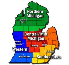 """A breakdown of Michigan's territories. it's all beautiful, but we love """"up north"""" the best!"""