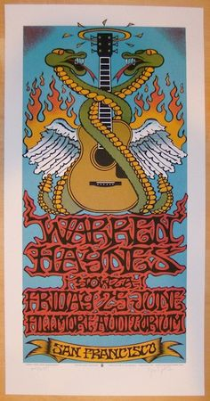 2004 Warren Haynes silkscreen concert poster (click image for more detail) Artist: Gary Houston Venue: Fillmore Auditorium Location: San Francisco Concert Date: 6/25/2004 Edition: signed and numbered