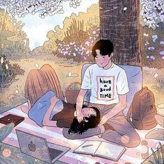 Myeong-Minho is a South Korea-based illustrator who draws beautiful, romantic moments of couples lives. Art Love Couple, Cute Couple Drawings, Cute Couple Cartoon, Cute Love Cartoons, Anime Love Couple, Love Art, Cute Drawings, Manga Couple, Paar Illustration