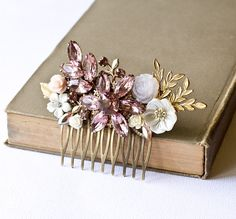 Bridal Hair Comb. Purple chic and pretty. Fashion but still stand out. Statement piece.
