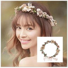 Pretty Bridal Garland Headband Flower Crown Hair Wreath Halo With Adjustable Ribbon For Wedding Festivals Bridal Hair Accessories Brides Hairstyle Bridesmaids Jewelry Sets From Janet521, $2.26| Dhgate.Com