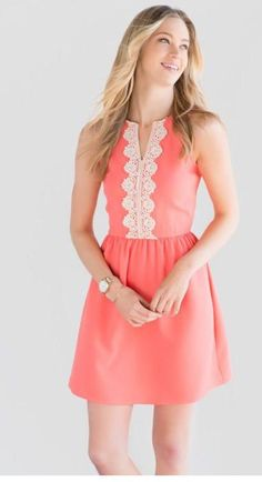 cool Coral dress with crochet detail. Love this! Stitch fix spring summer 2016...
