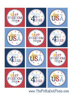 """Cute 4th of July Printable 2"""" Tags"""