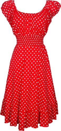 fashion bug 50s style cotton polkadot print knee-length dress rockabilly  can be worn on or off-shoulder, accentuates in all the right places. Zip back. www.fashionbug.us
