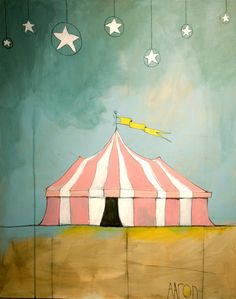 """Circus In The Sand,"" by the gray umbrella $19.00 fun poster art, #cabanas_outdoor_entertaining, #circus_tent, #tents_cabanas"