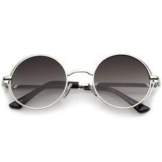 b30f4b9a786 Retro Open Metal Frame Slim Temples Flat Lens Round Sunglasses 49mm  Sunglasses Sale