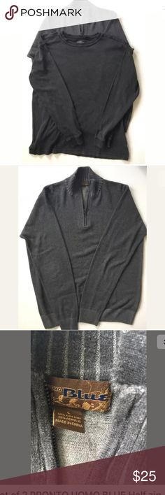 Two Shirts - Pronto Uomo Shirts One half zip sweater and one pullover heavy t-shirt. Blue Shirts