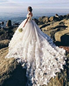 Butterfly Wedding Dresses Ball Gown Off The Shoulder Vestidos De Noiva Borboleta Vestido De Baile Fora Do Ombro Boho Wedding Dress With Sleeves, Top Wedding Dresses, Wedding Dress Trends, Colored Wedding Dresses, Bridal Dresses, Lace Wedding, Mermaid Wedding, Elegant Wedding, Floral Wedding