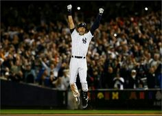 New York Yankees shortstop Derek Jeter celebrates as he ends the game with a walk off during his last game at Yankee Stadium. The now retired shortstop led the New York Yankees to a dramatic victory against the Baltimore Orioles with a final score of Damn Yankees, Yankees Fan, New York Yankees Baseball, Derek Jeter, Last Game, Go For It, New York Daily News, Yankee Stadium, American League