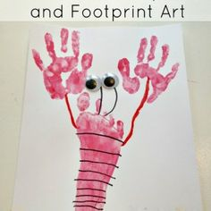 Lobster Handprint and Footprint Art..and more summer time activities for kids...