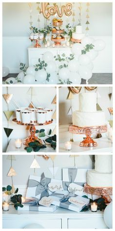 Rose Gold Bridal Party! Bridal shower décor Dessert table with white balloon garland