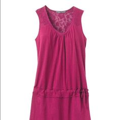 NWT prAna 'Bree' dress Sleeveless Bree Dress by prAna in the color boysenberry. Made from ultra soft 100% organic cotton jersey. Lace trim at the front neckline and back yoke. Adjustable drop waist with tie at the side and a straight hemline.  Length measures 36 inches bust measures 20.5 inches laying flat. This is such a great casual summer dress or swim coverup! prAna Dresses