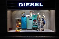 Diesel Storefront Window Display using mannequins and vintage appliances. #storefront