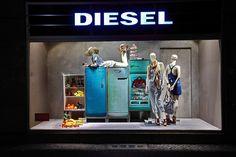 Diesel Storefront Window Display using mannequins and vintage appliances. #storefront