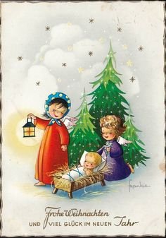 Frankie Christmas Manger, Christmas Art, Christmas And New Year, Xmas, Christmas Ornaments, Christmas In Germany, Christmas Scrapbook, Old Fashioned Christmas, New Year Card