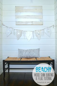 Beachy wood shim bunting and flag tutorial