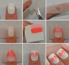 Ombre nails are extremely trendy these days and represent a very cool effect. Although they look hard to do with our step-by-step instructions you will certainly do just fine. It is important that you previously prepare the appropriate accessories –sponge, scissors, a piece of paper and a couple of nail polish in a similar color scheme. This time we will show you a slightly different version of the classic ombre style – a shaded heart! How do you like this idea?