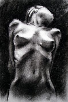 Kenneth Reed - nude woman figure drawing, charcoal