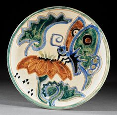 A Shearwater Art Pottery Plate, c. 1950, decorated by Walter Anderson