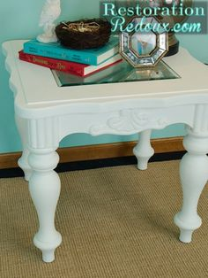 White Chalky Painted Table http://www.restorationredoux.com/?p=3297