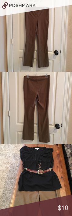 Brown pants size medium Brown pants size medium very slight flare - camel color stretchy material ( rayon,nylon spandex) elastic pull on waist with faux zip front . Great pants for casual, work - travel well . Camel color -looks great with black and cream especially. ( shirt, belt and necklace not included) inseam 30 inches. 30 inch waist. jules & lepold Pants Boot Cut & Flare