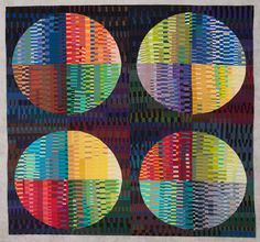 Kaci KYLER Brush Prairie, Washington MARKS III Kaci Kyler × cottons, machine-pieced and machine-quilted Circle Quilts, Mini Quilts, String Quilts, Contemporary Quilts, Quilted Wall Hangings, Easy Projects, Machine Quilting, Islamic Art, Crow