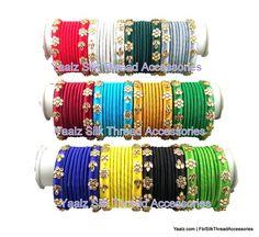 silk thread jewelry Bangle Earring Jumka-Yaalz Return Gift Kundan Stone Bangle Sets In Twelve Assorted Colors-YAALZ Silk Thread Bangles Design, Silk Thread Necklace, Beaded Necklace Patterns, Thread Jewellery, Jewelry Patterns, Tassel Jewelry, Jewelery, Kundan Bangles, Silk Bangles