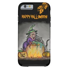 Witch and cat, Happy Halloween! #iPhone6 Case #Halloween FantasyArt by Krisi ArtKSZP on Zazzle