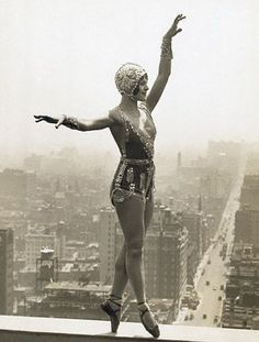 Showgirl & actress Lina Basquette, ca. 1920s, practicing her steps 28 floors up on the roof of the Hotel Commodore.