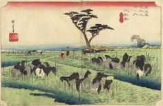 Chiryu: The Summer Horse Fair by Hiroshige -- from the Hoeido edition of the 53 Stations of the Tokaido series.