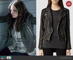 Quinn's leather jacket on Scandal.  Outfit Details: http://wornontv.net/47049/ #Scandal