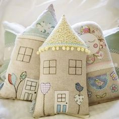 Little love bird house cushion by Little Village Handmade, BANGOR, New South Wales Fabric Art, Fabric Crafts, Sewing Crafts, House Quilts, Fabric Houses, Felt Crafts, Diy And Crafts, Arts And Crafts, Craft Projects